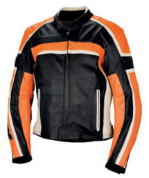 Motorcycle Leather Jacket  black white and orange color