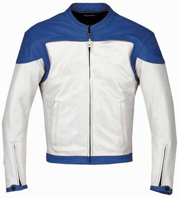 Stylish Blue White Motorbike leather jacket