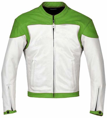 Stylish Green White Motorbike leather jacket