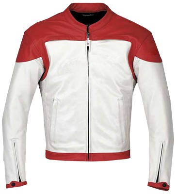 Stylish Red White Motorbike leather jacket