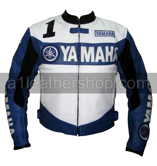 Yamaha 1 rocket motorcycle racing leather jacket blue and white color