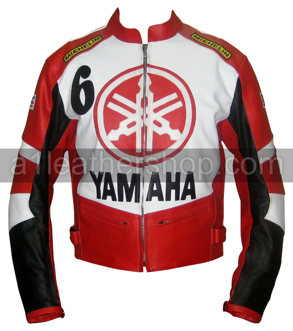 Yamaha 6 Red White and Black Motorcycle Leather Jacket