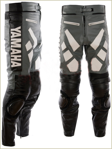 Yamaha Motorbike Leather Pant Gray black color