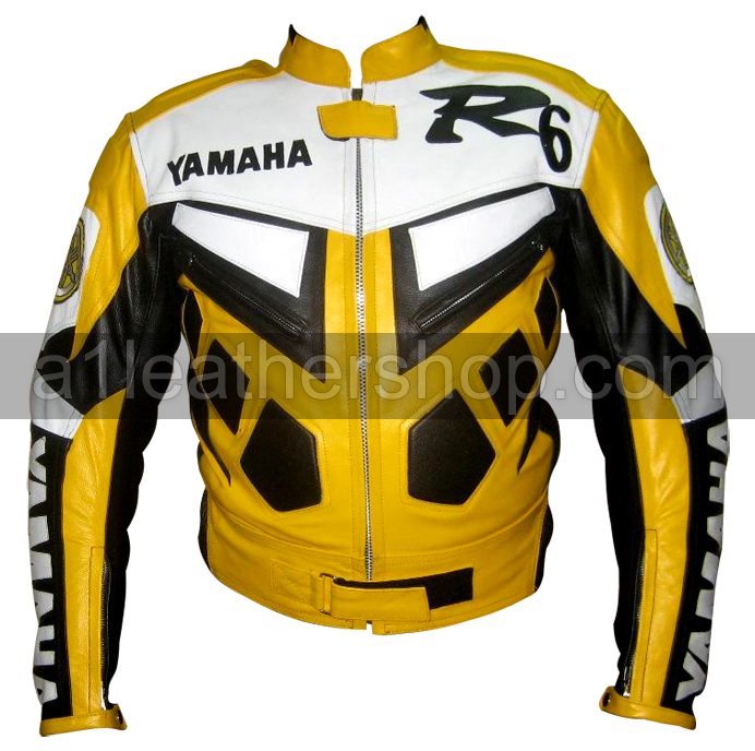 Yamaha R6 Yellow Color Motorcycle Leather Jacket
