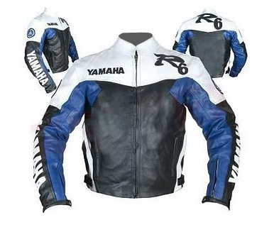 Yamaha R6 motorcycle leather jacket black blue white color