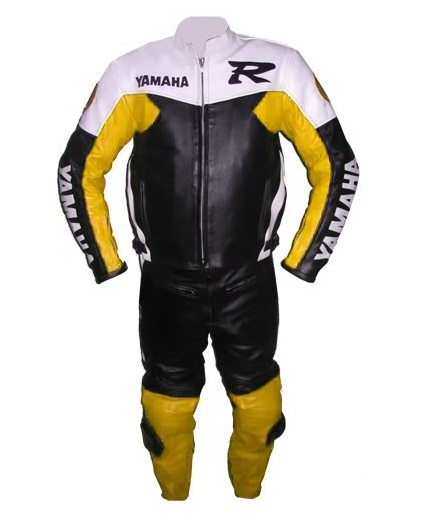 Yamaha R motorcycle leather suit yellow black white color