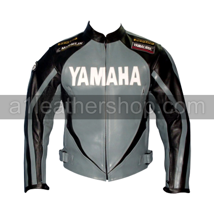 Yamaha black and silver motorcycle leather jacket