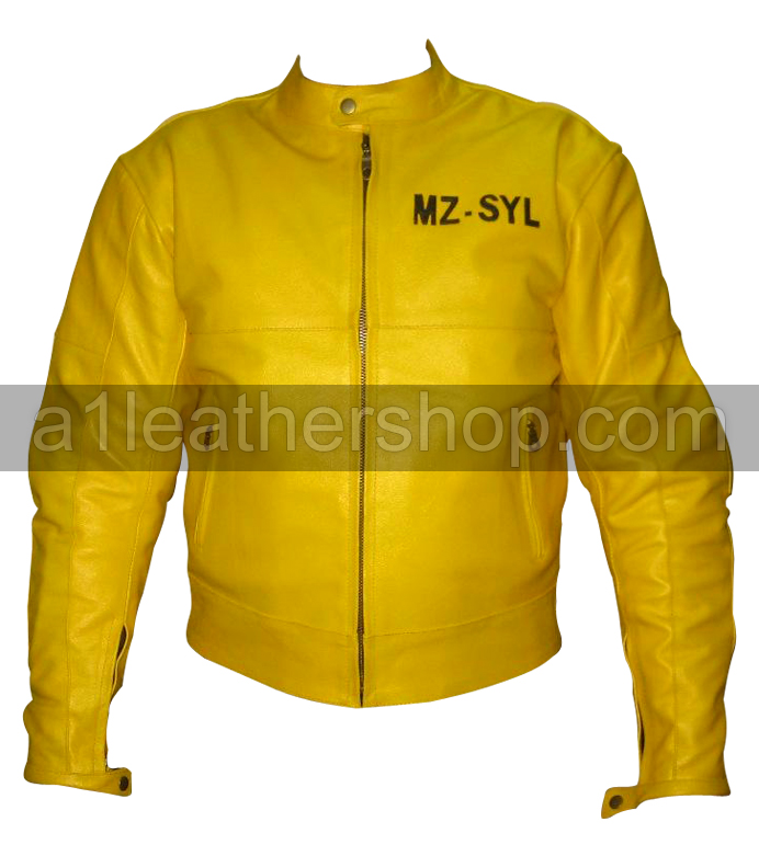 Yamaha yellow color biker racing leather jacket