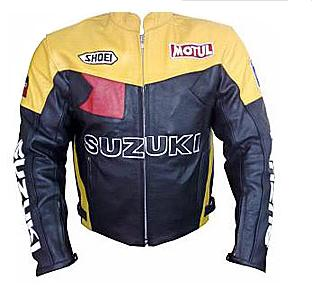 Yellow Black Color SUZUKI Motorcycle Leather Jacket