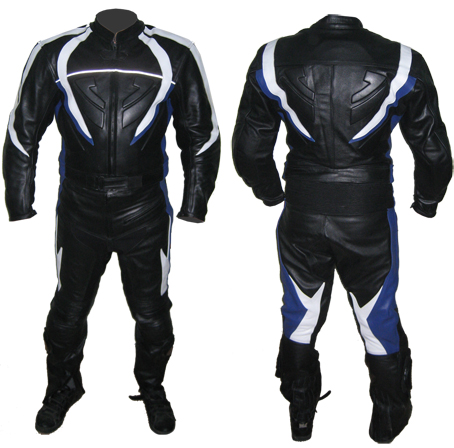 men biker racing leather suit in black blue and white color