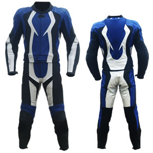 biker racing leather suit in black blue and white color
