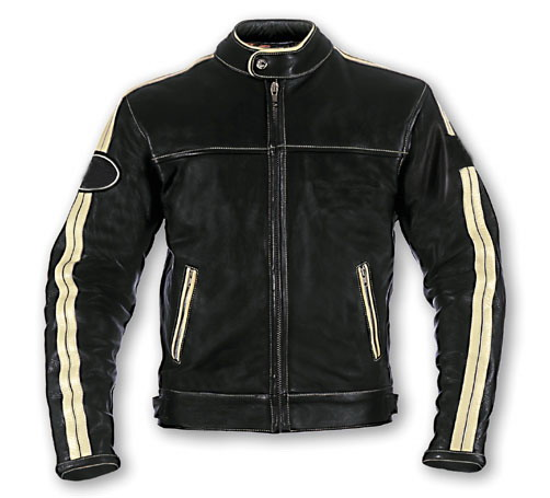 Black Color Motorcycle Leather Jacket with white stripe
