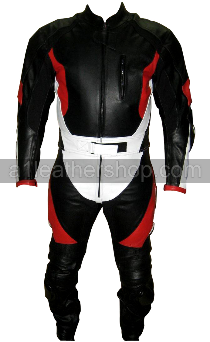 black white red motorcycle racing leather suit