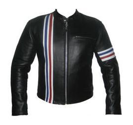stylish black soft aniline leather jacket with 3 color strip