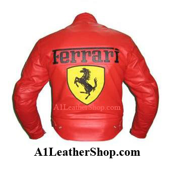 Ferrari Red Motorcycle Racing Leather Jacket