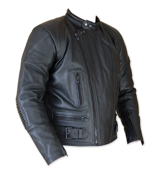 men classic motorbike leather jacket black color