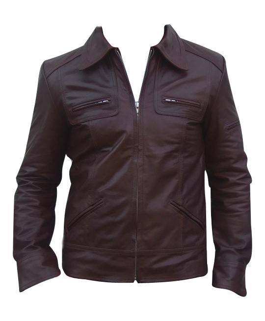 men s fashion soft aniline dark brown leather jacket