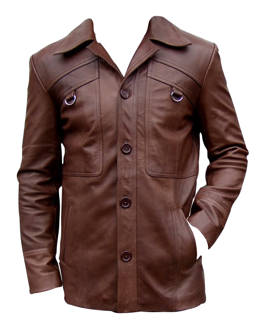 mens four button brown leather coat