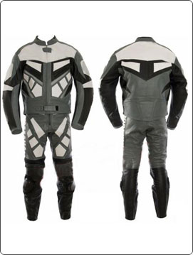 motorcycle fashion leather suit in black white grey color
