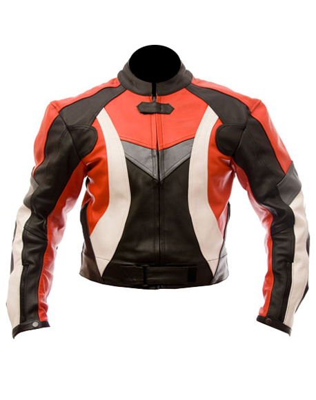 motorcycle leather jacket in red black white color