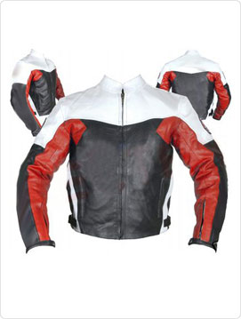 motorcycle racing leather jacket in black white and red color