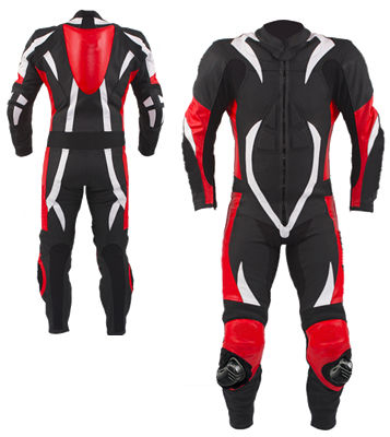 one piece biker racing leather suit in red white black color