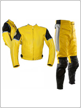 Yellow and black 1 piece biker racing leather suit