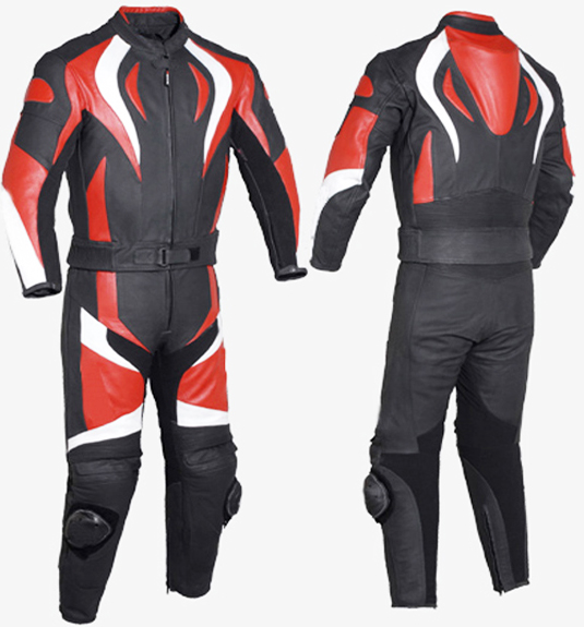 red and black 1 piece biker racing leather suit