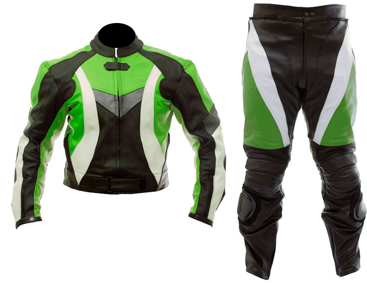 two piece motorcycle biker leather suit green black color