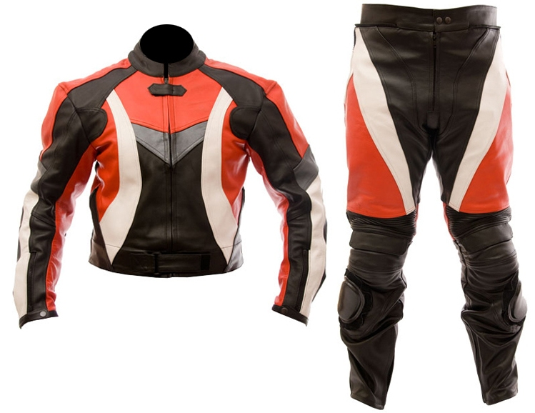 two piece motorcycle biker leather suit red black white color