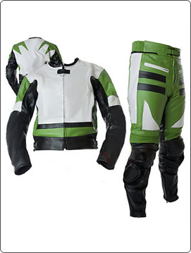 two piece motorcycle leather suit in black green white